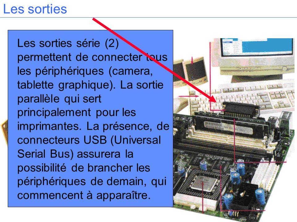 Les sorties série (2) permettent de connecter tous les périphériques (camera, tablette graphique). La sortie parallèle qui sert principalement pour le