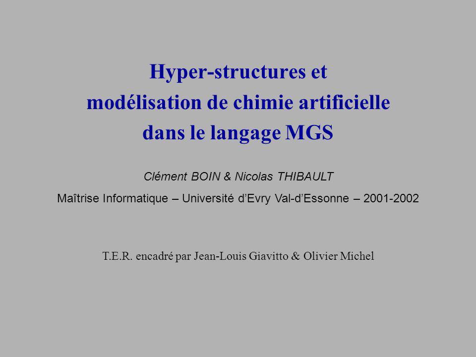 Hyper-structures et modélisation de chimie artificielle dans le langage MGS Clément BOIN & Nicolas THIBAULT Maîtrise Informatique – Université dEvry Val-dEssonne – 2001-2002 T.E.R.
