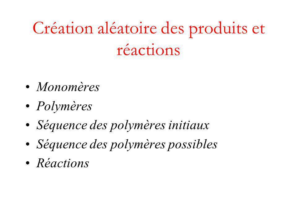 Création aléatoire des produits et réactions Monomères Polymères Séquence des polymères initiaux Séquence des polymères possibles Réactions