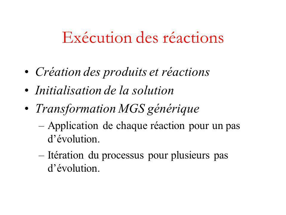 Exécution des réactions Création des produits et réactions Initialisation de la solution Transformation MGS générique –Application de chaque réaction pour un pas dévolution.