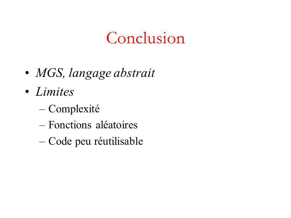 Conclusion MGS, langage abstrait Limites –Complexité –Fonctions aléatoires –Code peu réutilisable