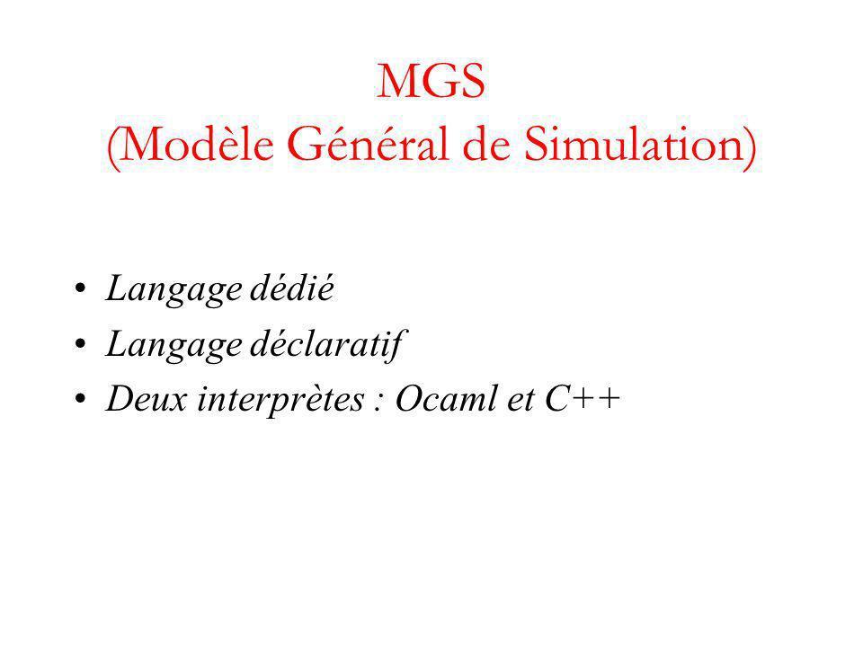 MGS (Modèle Général de Simulation) Langage dédié Langage déclaratif Deux interprètes : Ocaml et C++