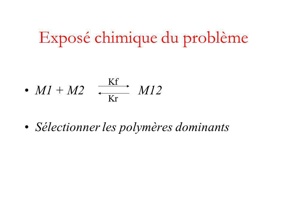 M1 + M2 M12 Sélectionner les polymères dominants Exposé chimique du problème Kf Kr