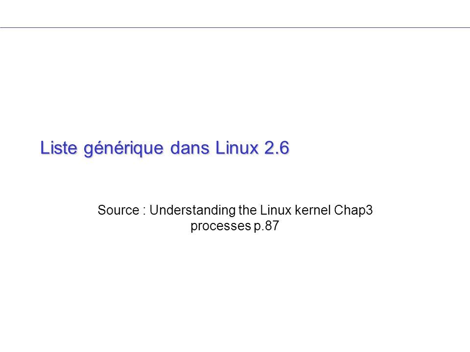 Liste générique dans Linux 2.6 Source : Understanding the Linux kernel Chap3 processes p.87