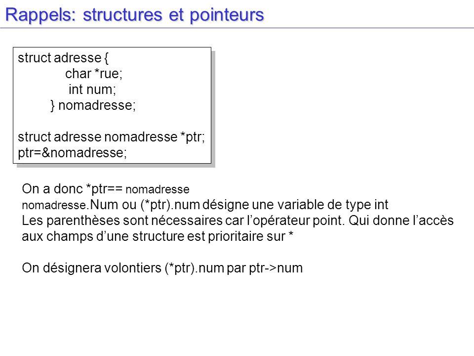 Rappels: structures et pointeurs struct adresse { char *rue; int num; } nomadresse; struct adresse nomadresse *ptr; ptr=&nomadresse; struct adresse { char *rue; int num; } nomadresse; struct adresse nomadresse *ptr; ptr=&nomadresse; On a donc *ptr== nomadresse nomadresse.Num ou (*ptr).num désigne une variable de type int Les parenthèses sont nécessaires car lopérateur point.