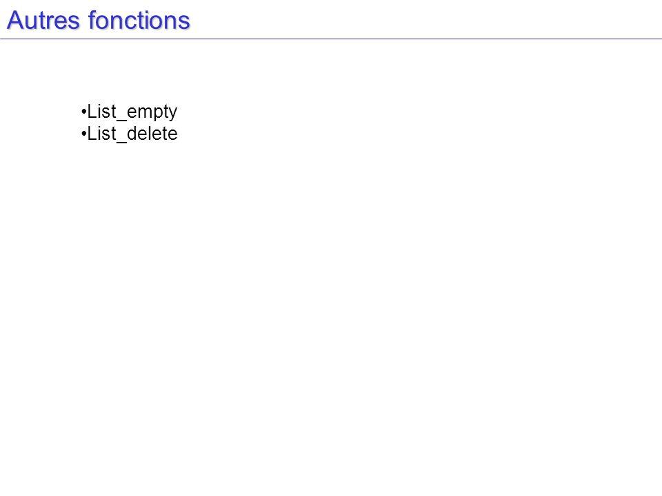 Autres fonctions List_empty List_delete