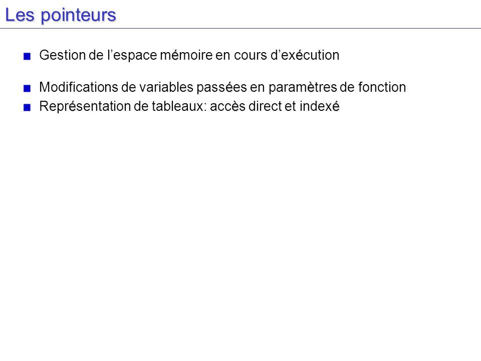 Les pointeurs éé Gestion de lespace mémoire en cours dexécution éè Modifications de variables passées en paramètres de fonction éèé Représentation de tableaux: accès direct et indexé