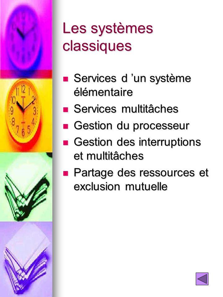 Les systèmes classiques Services d un système élémentaire Services d un système élémentaire Services multitâches Services multitâches Gestion du proce
