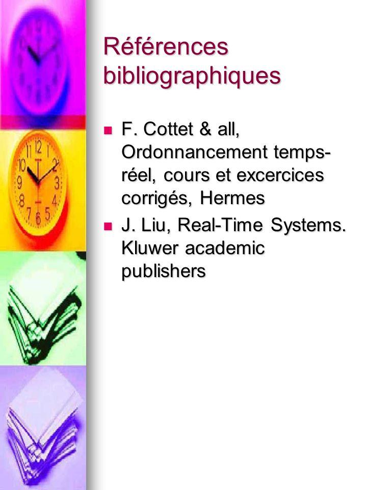 Références bibliographiques F. Cottet & all, Ordonnancement temps- réel, cours et excercices corrigés, Hermes F. Cottet & all, Ordonnancement temps- r
