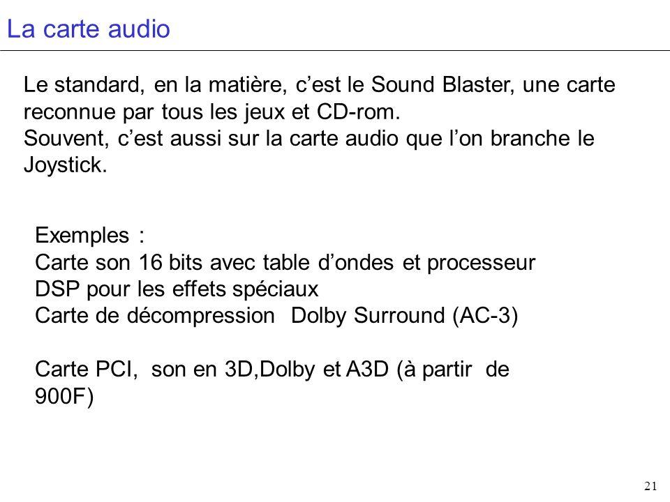 21 La carte audio Le standard, en la matière, cest le Sound Blaster, une carte reconnue par tous les jeux et CD-rom. Souvent, cest aussi sur la carte