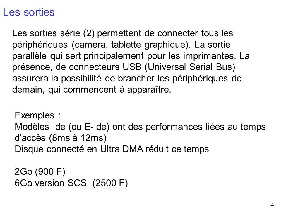 23 Les sorties Les sorties série (2) permettent de connecter tous les périphériques (camera, tablette graphique). La sortie parallèle qui sert princip