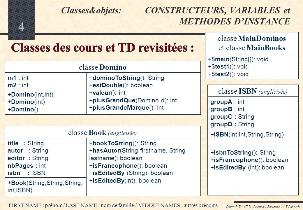 24 Cours JAVA (I21) -Licence 1 Semestre 2 / Y.Laborde PROTECTION DE LÉTAT INTERNE DES OBJETS (SUITE) classe Domino // Variables dinstance privées -m1: int -m2: int classe Pioche // Variable dinstance privée -laPioche: Domino[] classe LigneDeJeu // Variable dinstance privée -ldj: Domino[] classe DonneJoueur // Variable dinstance privée -laDonne: Domino[] Déclarations Java : // Variables dinstance privées private int m1, m2; private Domino[] laPioche; private Domino[] ldj; private Domino[] laDonne; Déclarations Java : // Variables dinstance privées private int m1, m2; private Domino[] laPioche; private Domino[] ldj; private Domino[] laDonne; -= private += public $ = static