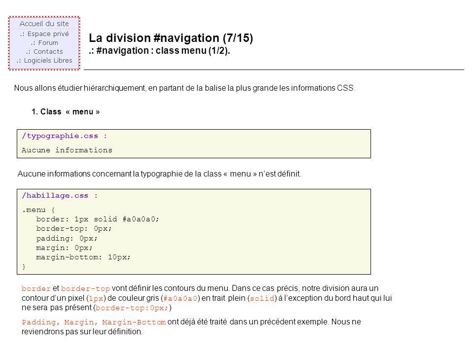 La division #navigation (7/15).: #navigation : class menu (1/2).