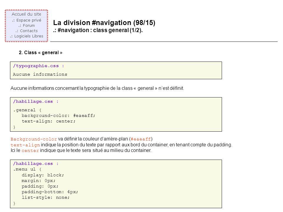 La division #navigation (98/15).: #navigation : class general (1/2).