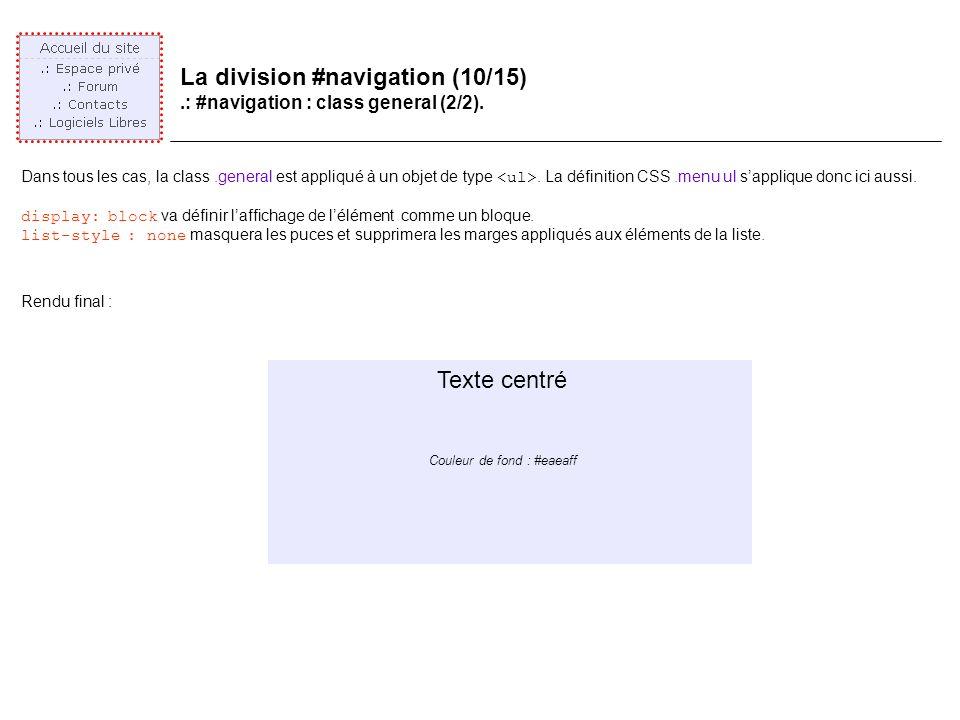 La division #navigation (10/15).: #navigation : class general (2/2).