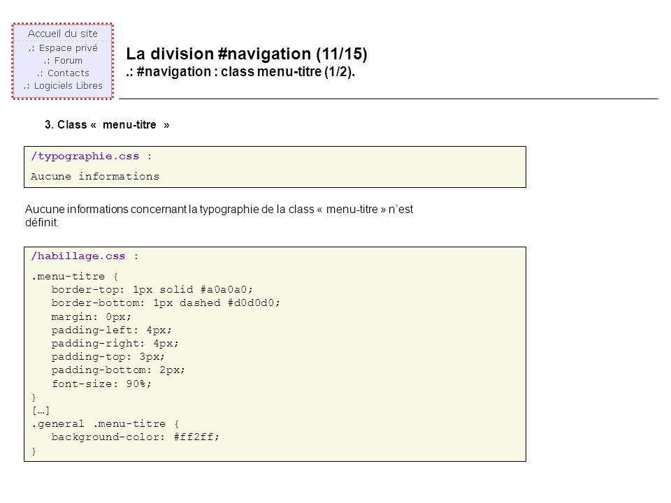La division #navigation (11/15).: #navigation : class menu-titre (1/2).