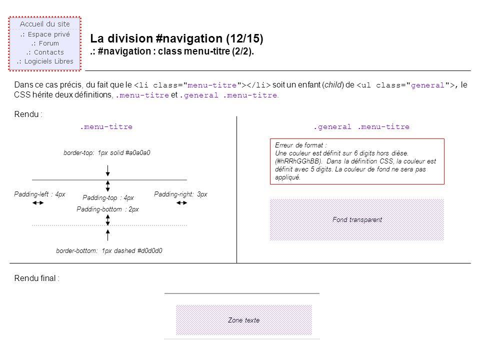 La division #navigation (12/15).: #navigation : class menu-titre (2/2).