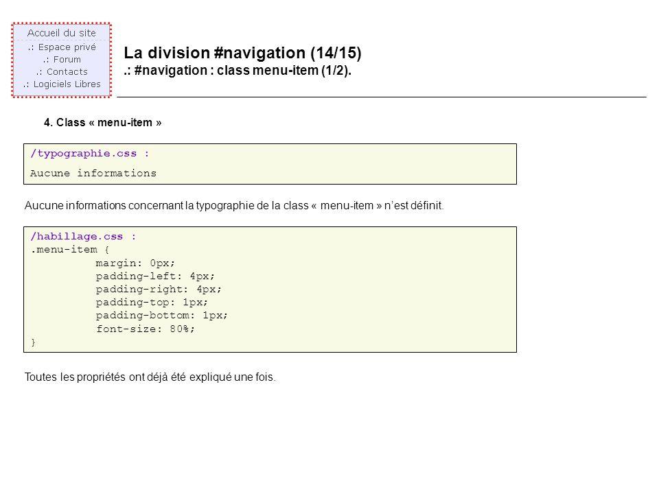 La division #navigation (14/15).: #navigation : class menu-item (1/2).