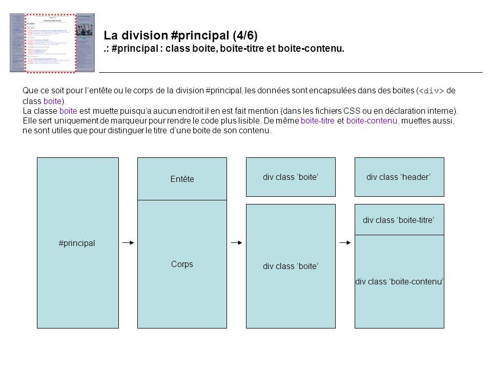 La division #principal (4/6).: #principal : class boite, boite-titre et boite-contenu.