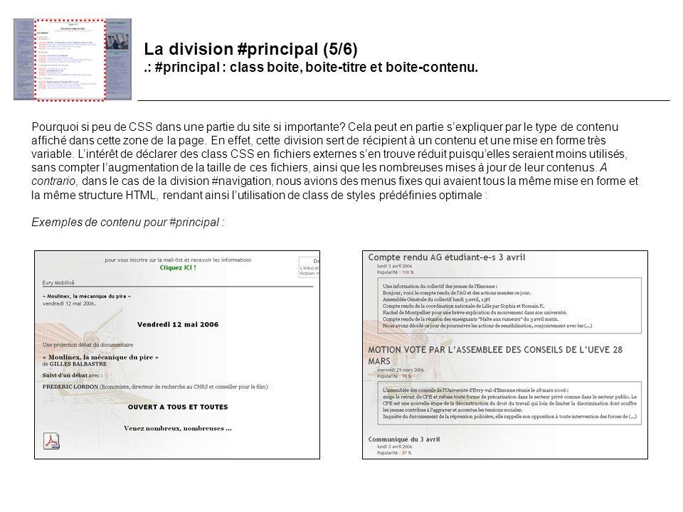 La division #principal (5/6).: #principal : class boite, boite-titre et boite-contenu.