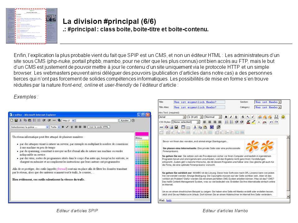 La division #principal (6/6).: #principal : class boite, boite-titre et boite-contenu.