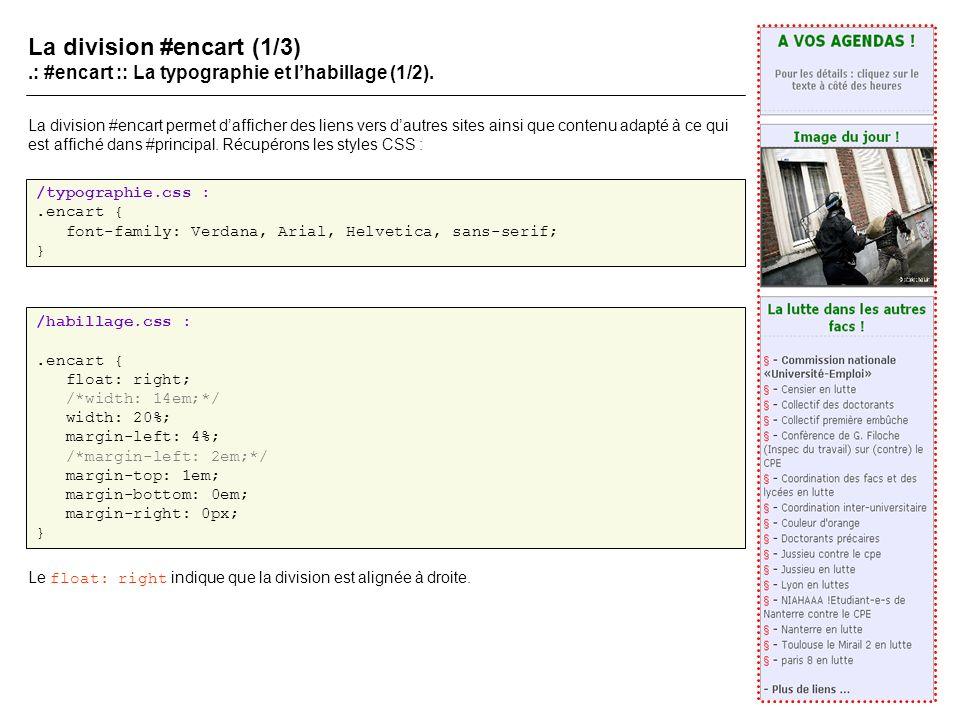 La division #encart (1/3).: #encart :: La typographie et lhabillage (1/2).