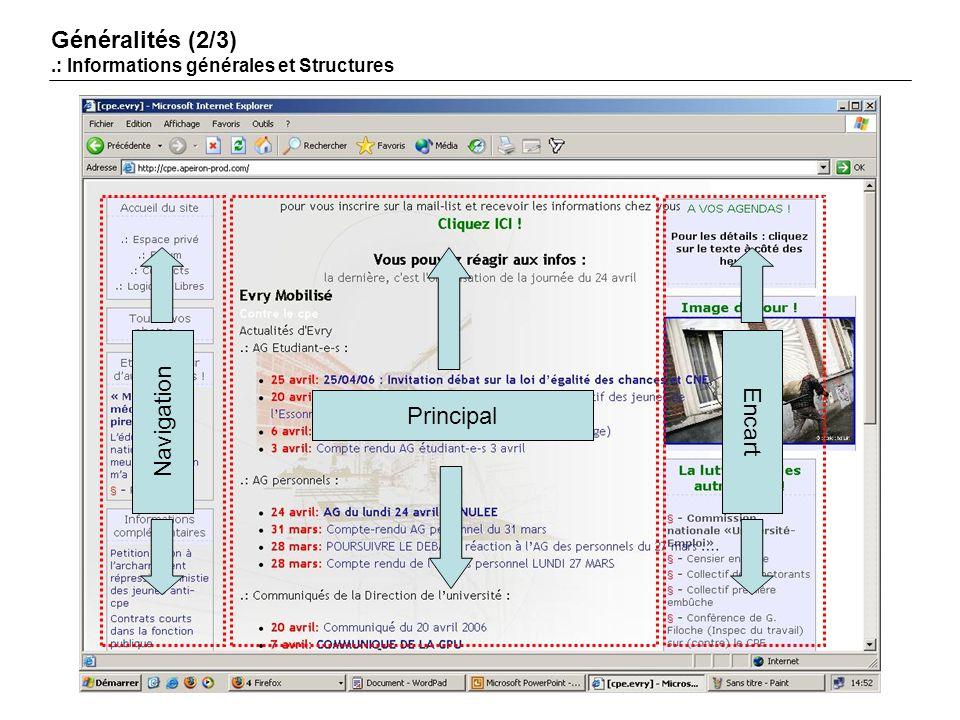 Navigation Principal Encart Généralités (2/3).: Informations générales et Structures