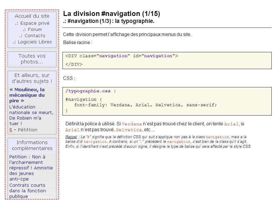 La division #navigation (1/15).: #navigation (1/3) : la typographie.