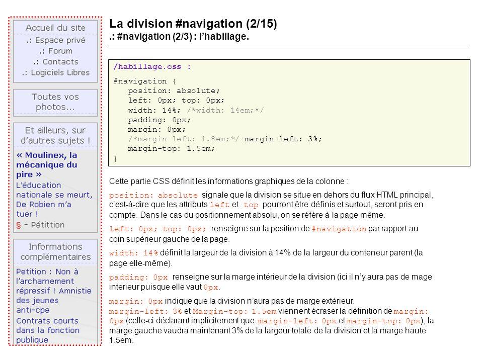 La division #navigation (2/15).: #navigation (2/3) : lhabillage.