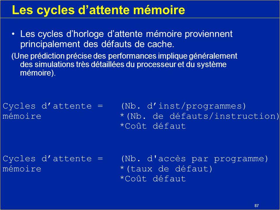 87 Les cycles dattente mémoire Les cycles dhorloge dattente mémoire proviennent principalement des défauts de cache.