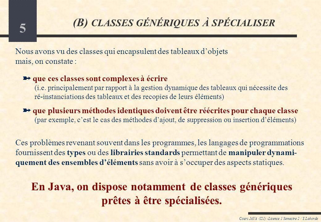 5 Cours JAVA (I21) -Licence 1 Semestre 2 / Y.Laborde (B) CLASSES GÉNÉRIQUES À SPÉCIALISER Nous avons vu des classes qui encapsulent des tableaux dobjets mais, on constate : que ces classes sont complexes à écrire (i.e.