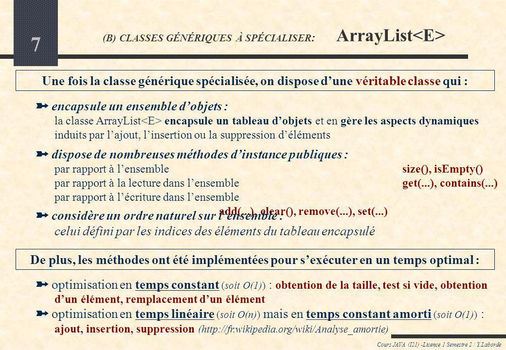 7 Cours JAVA (I21) -Licence 1 Semestre 2 / Y.Laborde (B) CLASSES GÉNÉRIQUES À SPÉCIALISER : ArrayList encapsule un ensemble dobjets : la classe ArrayList encapsule un tableau dobjets et en gère les aspects dynamiques induits par lajout, linsertion ou la suppression déléments dispose de nombreuses méthodes dinstance publiques : par rapport à lensemblesize(), isEmpty() par rapport à la lecture dans lensembleget(...), contains(...) par rapport à lécriture dans lensemble add(...), clear(), remove(...), set(...) optimisation en temps constant (soit O(1)) : obtention de la taille, test si vide, obtention dun élément, remplacement dun élément optimisation en temps linéaire (soit O(n)) mais en temps constant amorti (soit O(1)) : ajout, insertion, suppression (http://fr.wikipedia.org/wiki/Analyse_amortie) Une fois la classe générique spécialisée, on dispose dune véritable classe qui : De plus, les méthodes ont été implémentées pour sexécuter en un temps optimal : considère un ordre naturel sur lensemble : celui défini par les indices des éléments du tableau encapsulé
