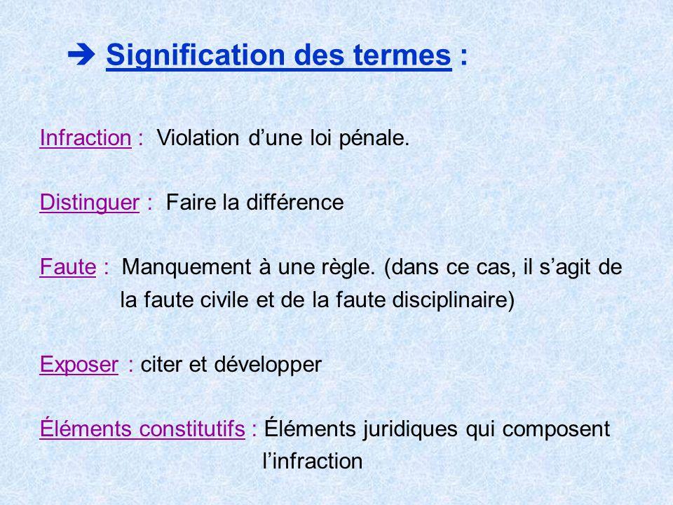 Signification des termes : Infraction : Violation dune loi pénale. Distinguer : Faire la différence Faute : Manquement à une règle. (dans ce cas, il s