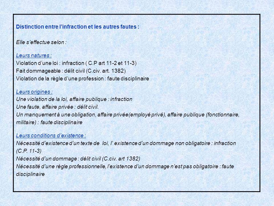 Distinction entre linfraction et les autres fautes : Elle seffectue selon : Leurs natures : Violation dune loi : infraction ( C.P art 11-2 et 11-3) Fa