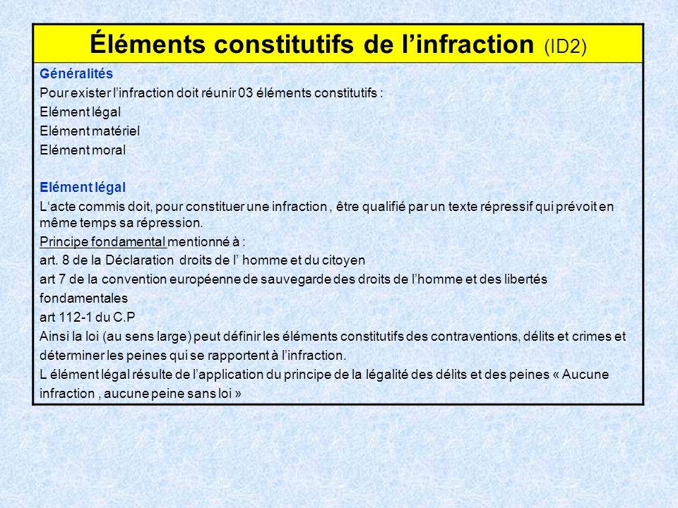 Éléments constitutifs de linfraction (ID2) Généralités Pour exister linfraction doit réunir 03 éléments constitutifs : Elément légal Elément matériel