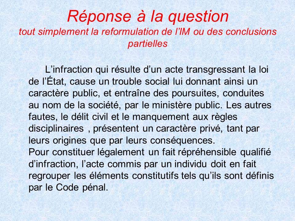 Réponse à la question tout simplement la reformulation de lIM ou des conclusions partielles Linfraction qui résulte dun acte transgressant la loi de l