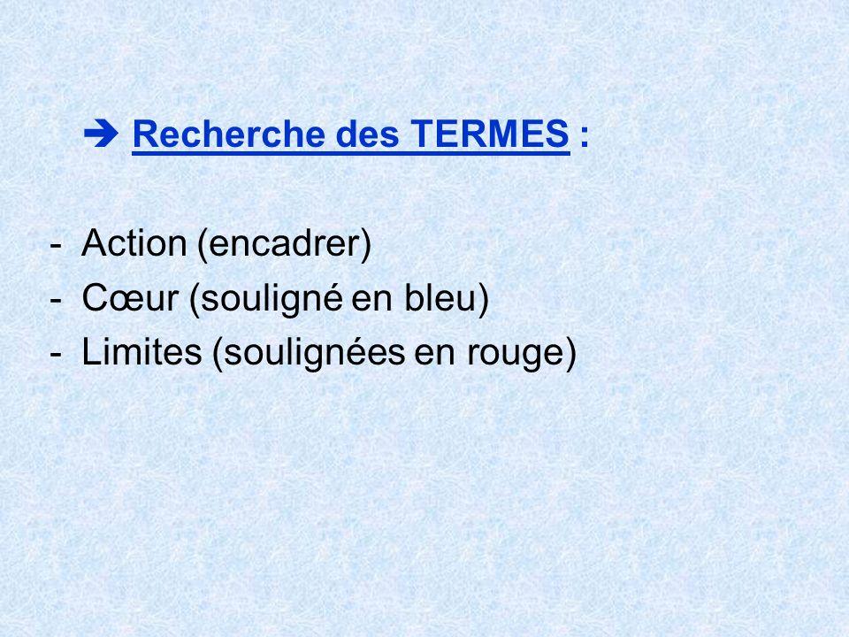 Recherche des TERMES : -Action (encadrer) -Cœur (souligné en bleu) -Limites (soulignées en rouge)