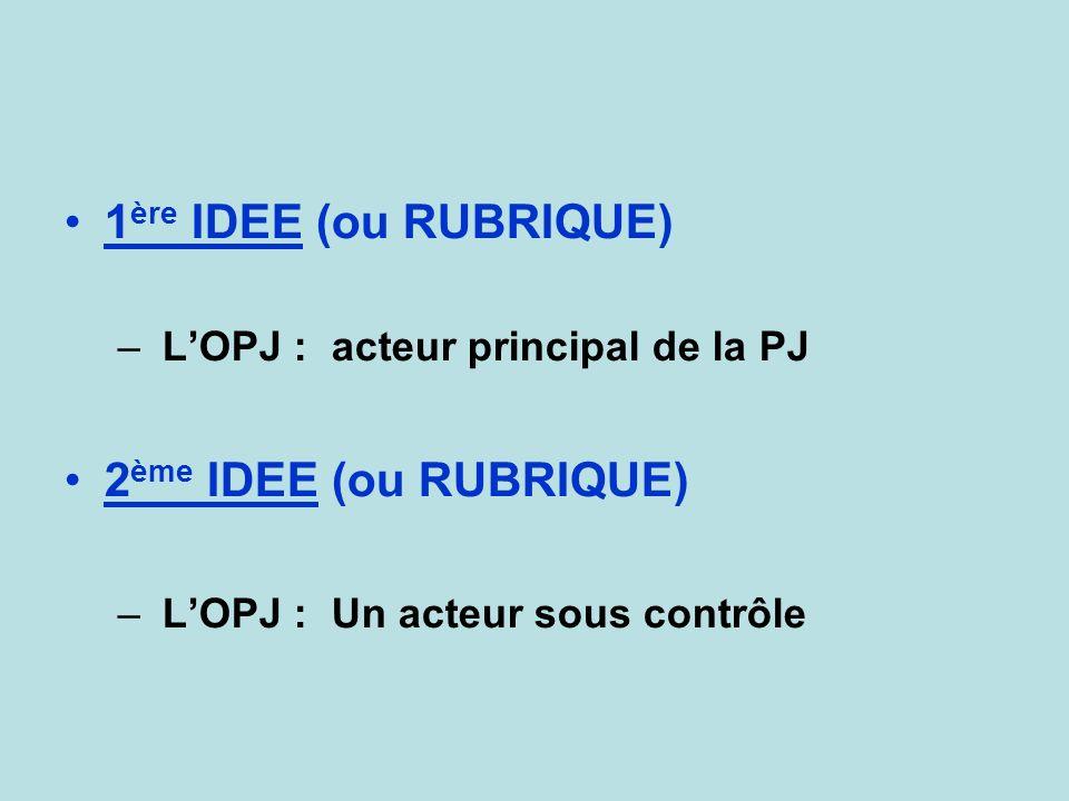 1 ère IDEE (ou RUBRIQUE) – LOPJ : acteur principal de la PJ 2 ème IDEE (ou RUBRIQUE) – LOPJ : Un acteur sous contrôle