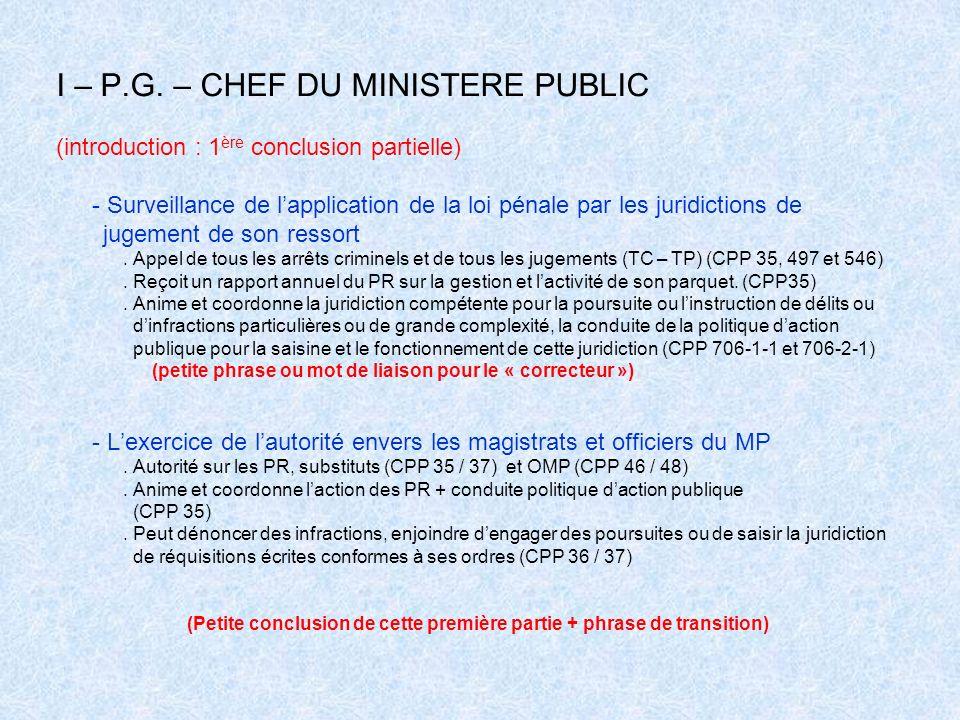 I – P.G. – CHEF DU MINISTERE PUBLIC (introduction : 1 ère conclusion partielle) - Surveillance de lapplication de la loi pénale par les juridictions d