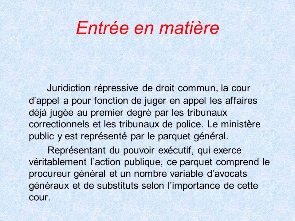 Entrée en matière Juridiction répressive de droit commun, la cour dappel a pour fonction de juger en appel les affaires déjà jugée au premier degré pa