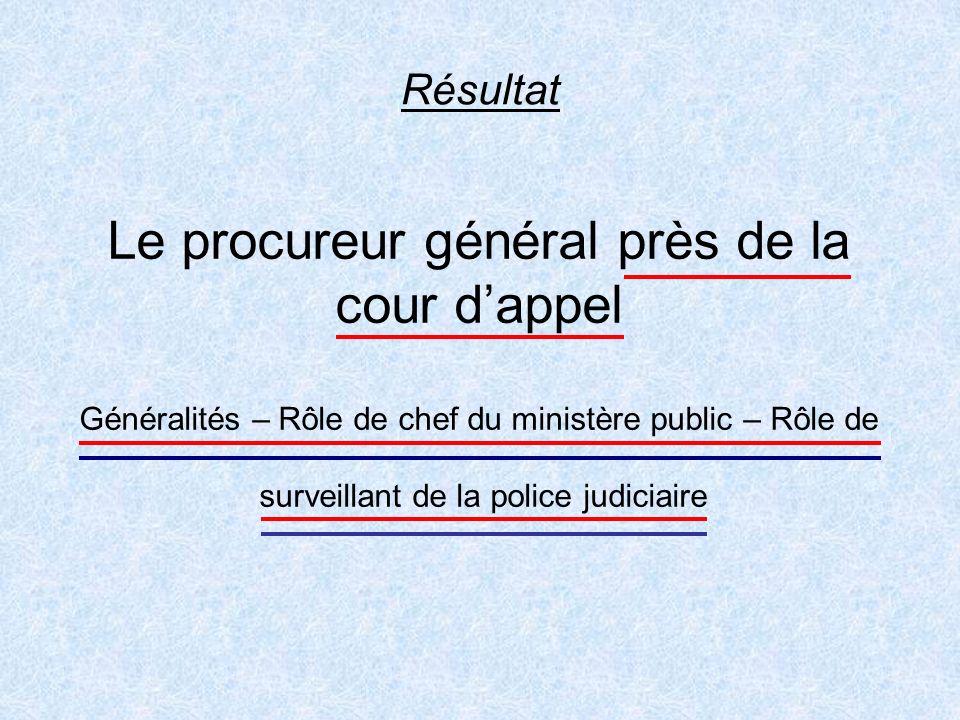 Résultat Le procureur général près de la cour dappel Généralités – Rôle de chef du ministère public – Rôle de surveillant de la police judiciaire