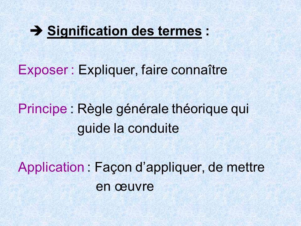 Signification des termes : Exposer : Expliquer, faire connaître Principe : Règle générale théorique qui guide la conduite Application : Façon dappliquer, de mettre en œuvre