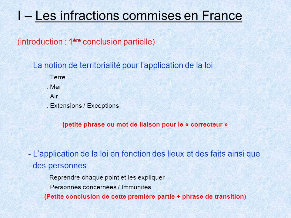 I – Les infractions commises en France (introduction : 1 ère conclusion partielle) - La notion de territorialité pour lapplication de la loi.