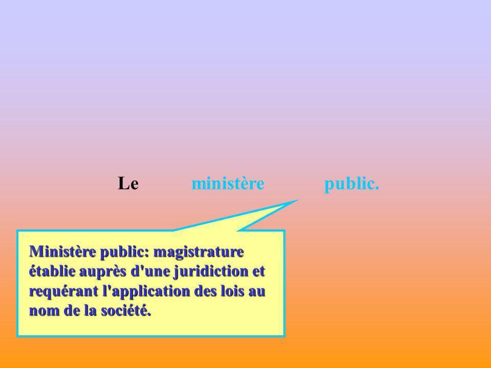 Cœur du sujet : Il sagit de: - définir ce qu est le ministère public en droit pénal français.