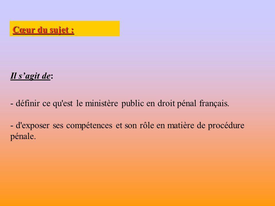 Limites du sujet : Il ne sagit pas de traiter: - du rôle du ministère public en matière civile.