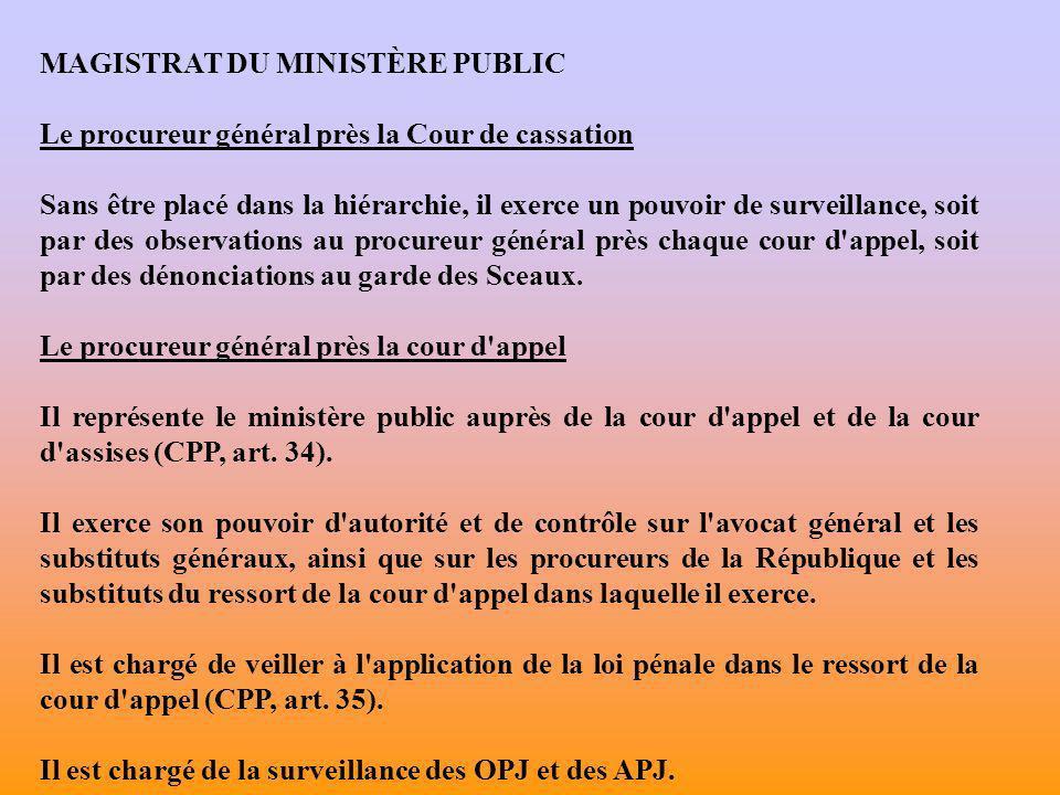 MAGISTRAT DU MINISTÈRE PUBLIC Le procureur de la République Il représente le ministère public près le TGI et auprès de la cour d assises 1 instituée auprès du tribunal (CPP, art.