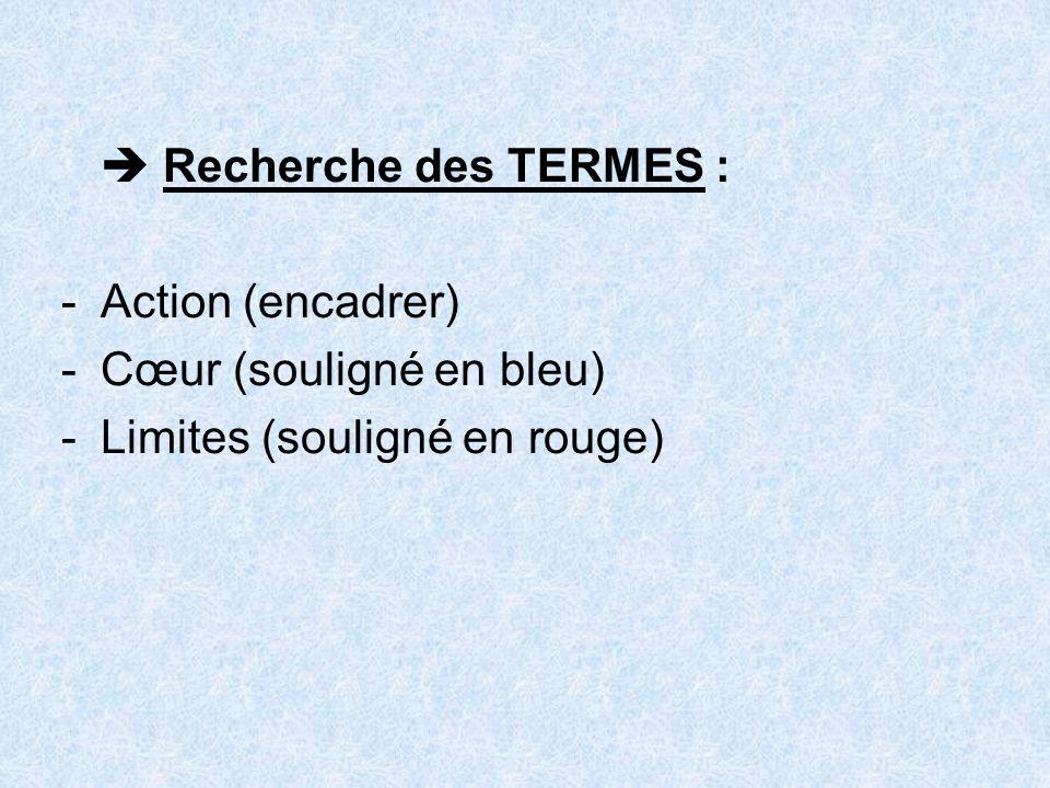 Recherche des TERMES : -Action (encadrer) -Cœur (souligné en bleu) -Limites (souligné en rouge)
