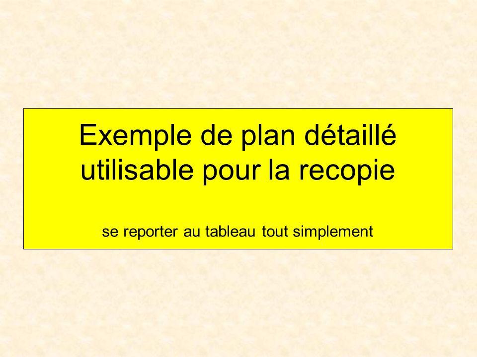 Exemple de plan détaillé utilisable pour la recopie se reporter au tableau tout simplement