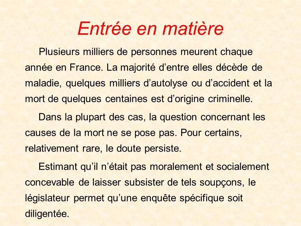 Entrée en matière Plusieurs milliers de personnes meurent chaque année en France. La majorité dentre elles décède de maladie, quelques milliers dautol