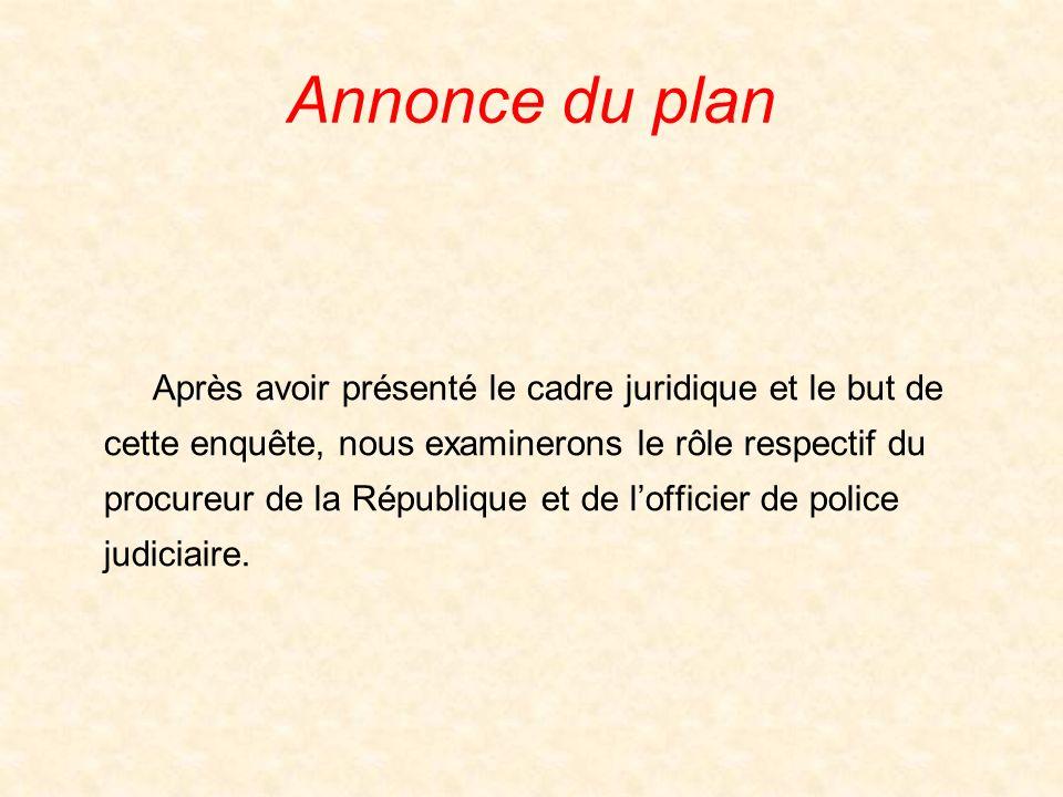 Annonce du plan Après avoir présenté le cadre juridique et le but de cette enquête, nous examinerons le rôle respectif du procureur de la République et de lofficier de police judiciaire.